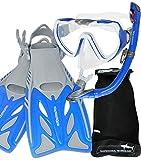 AQUAZON BARRACUDA set boccaglio, set da nuoto, set per immersioni, occhiali subacquei in vetro temperato antiappannamento, silicone, boccaglio semiasciutto, pinne regolabili per bambini, size:27/31