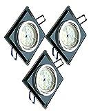 Trango 3er Set Design LED Einbaustrahler TG6736S-03B I Einbauleuchten I Deckenstrahler I Strahler aus schwarzem Glas & Alu inkl. 6x GU10 LED Leuchtmittel I direkt 230V I Deckenspots I Einbauspots I Spots.