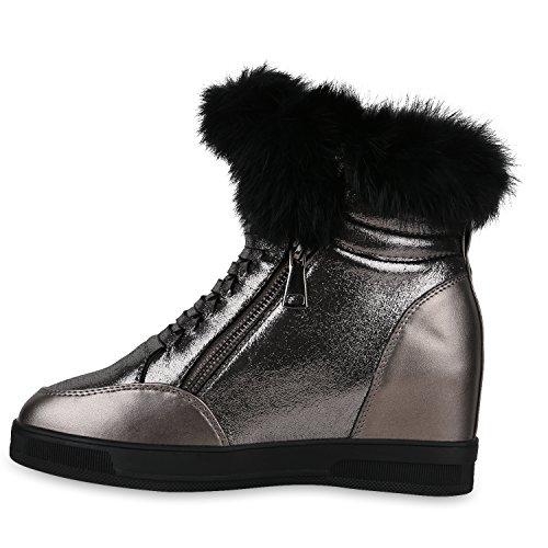 Damen Sneaker-Wedges Glitzer Turnschuhe Keil Absatz Fell Schuhe Grau