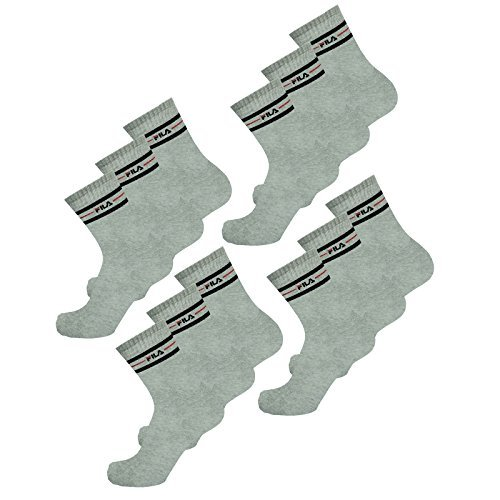 Fila 3 Paar Socken, Street Sport Socks Set, Stripes, Unisex 35-38,39-42,43-46: Farbe: Grau | Größe: 35-38 (3-5 UK)