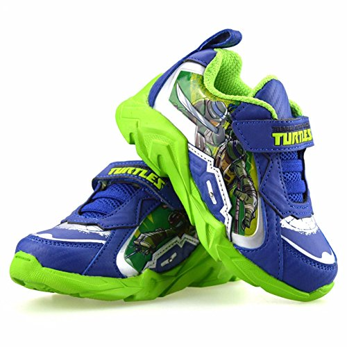 Image of Boys Kids Teenage Mutant Ninja Turtles Casual Summer Light Up Trainers Shoe Size[UK 10 Infant,Blue Green]