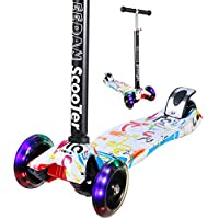 Scooter for Kids - EEDAN 3 Wheel T-bar Adjustable Height handle Kick Scooters PU Flashing Wheels Wide Deck for Boys/Girls from 2 to 14 Year-Old (Grafitti)