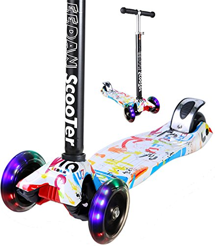 Miss EEDAN Monopattino per bambini 3ruota a T regolabile in altezza con manico Kick scooter con Deluxe PU lampeggiante ruote Wide Deck per bambino/bambina da 2a 14anni, Grafitti