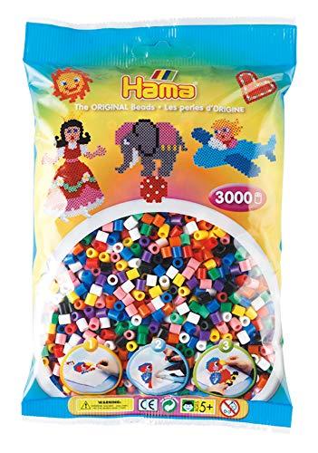 Hama 201-00 Bügelperlen Midi, ca. 3000 Stück in 10, Mehrfarbig - Ca 3000