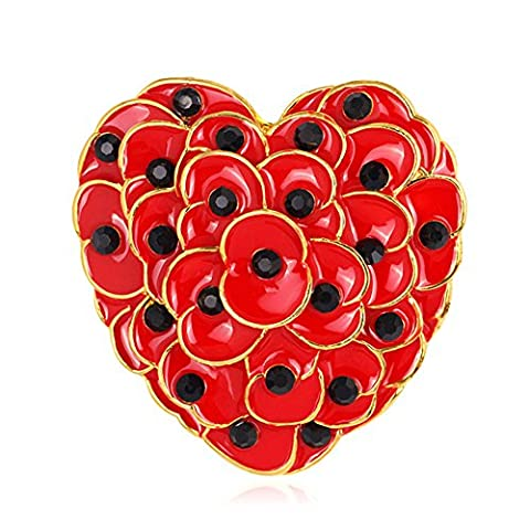 Luxury Vintage Style Large Red Heart of Poppy Flowers Symbolic Brooch Pin for Sale Women