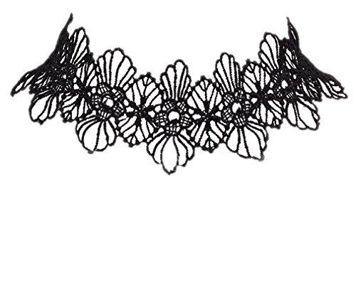 ACVIP Femme Rétro Collier Classique Chaîne Dentelle Motif Fleur Noire Tour de Cou (Noir) Noir