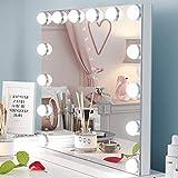 Ovonni Miroir de Maquillage avec 14 Ampoules LED, Grand Miroir de Table, Hollywood Miroir, Tactile Réglable Lumière (Foid/Chaude), Miroir Surdimensionné (Blanc)