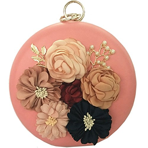 BLOOMSTAR Damen Satin Blume Abend Handtasche Clutch Perle Perlen Dinner Bag Schwarz Rosa