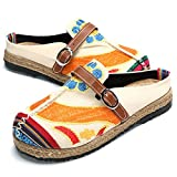 gracosy Women's Walking Slip on Slipper Loafer Flat Shoes Summer Sandals Breathable Beach Shoes Colorful Sun Flower Embroidered Shoes Outdoor Leisure Garden Clogs House Slippers for Ladies Beige 4 UK