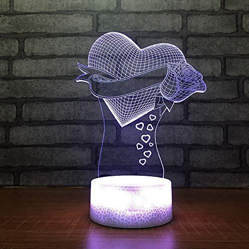 Mzdpp Schlafzimmer Beleuchtung 3D Led Atmosphären Heart-Shaped 7 Farben Rosen Nachtlicht Schreibtischlampe Usb Baby Nachttisch Ras Dekoration