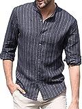 ShallGood Herren Leinenhemd Langarm Sommer Hemd Business Stehkragen Regular Fit Hemd Slim Fit Freizeithemden Hemd C Schwarz 2X-Large