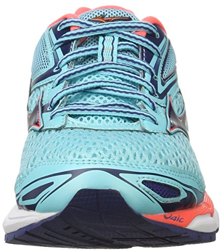 Mizuno Wave Inspire W, Chaussures de Running Femme, Turquoise Multicolore (Blueradiance/blueprint/fierycoral)