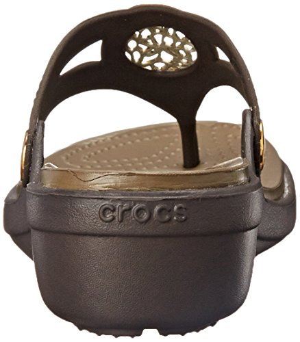 Crocs - - Sanrah Cercle des femmes Wedge flip Espresso/Walnut