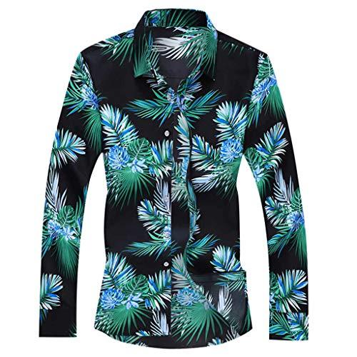 MOTOCO Herren Langarm Hemden Top V-Ausschnitt Knopf Poloshirt Plus Size Blumendruck Lässige Herbst Bluse(XL,Schwarz-1)