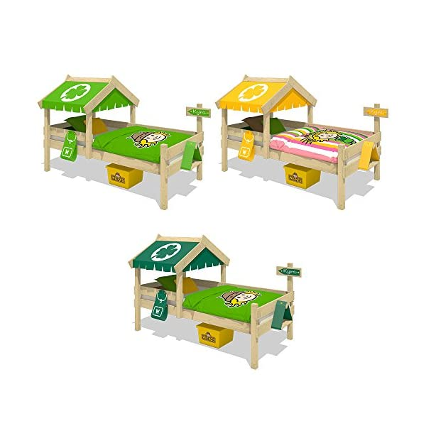 WICKEY Children's Bed Crazy Buddy Single Bed Adventure Bed with roof and slatted Bed Base, Green Wickey Nice play bed for children with roof and bird house - Quality and safety tested Solid boards 18x120mm - Solid standing beams 58x58mm - Mattress surface 200x90cm Natural and untreated wood - Solid 18mm slatted bed base - All screws included 4