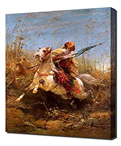 Adolf Schreyer - Arab Warrior Leading A Charge - Reproduction d'art sur toile
