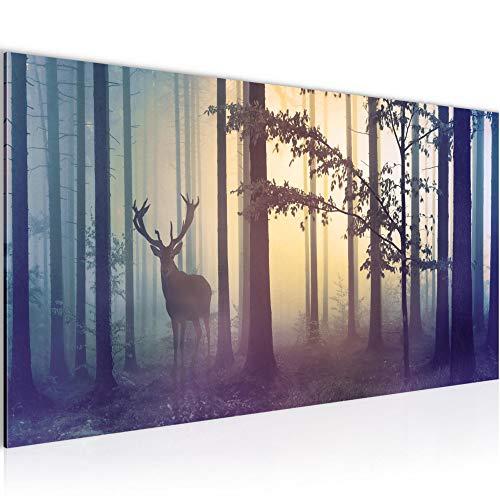 Bilder Wald Hirsch Wandbild 100 x 40 cm Vlies - Leinwand Bild XXL Format Wandbilder Wohnzimmer Wohnung Deko Kunstdrucke Blau 1 Teilig - Made IN Germany - Fertig zum Aufhängen 013412a