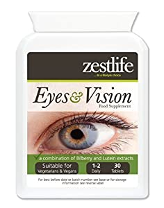 Zestlife Eyes & Vision Supplement 30 tablets | A combination of Bilberry & Eyebright extracts | Anthocyaninus | Lutein| Zeaxanthin | Zinc and Vitamins