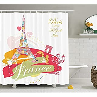 KRISTI MCCARTNEY Eiffel Tower Decor Collection, Architectural Vintage Style Street Lamps Paris is Always a Good Idea Art Design, Polyester Fabric Bathroom Shower Curtain, 75 inches Long, Pink Mustard
