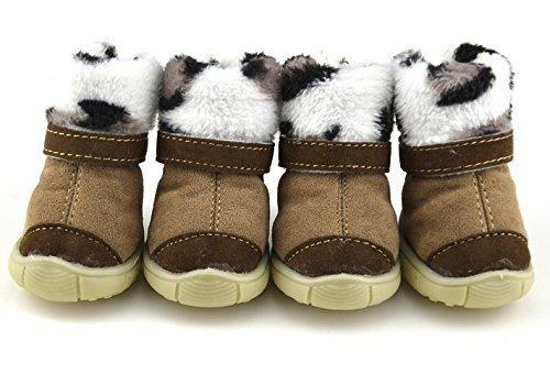 Mädchen Jungen Haustier Hund Katze schützende Schuhe Sandalen Sneakers Sportschuhe Kleidung Kleidung Party Kostüm Outfit Accessoire UK braun/Leopard Stiefel, Extra - Jungen Braun Kostüm Stiefel