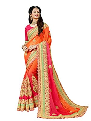 Manohari Embroidery Multicoloured Chiffon Saree