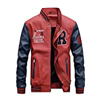 Yonglan Mens Short Winter PU Leather Jacket Casual Stand Collar Leather Baseball Clothing Mixed Color Outerwear