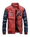 Hombres Chaqueta de cuero Cuero de la PU Chaqueta de béisbol Colores mezclados Abrigo de pieles Rojo L