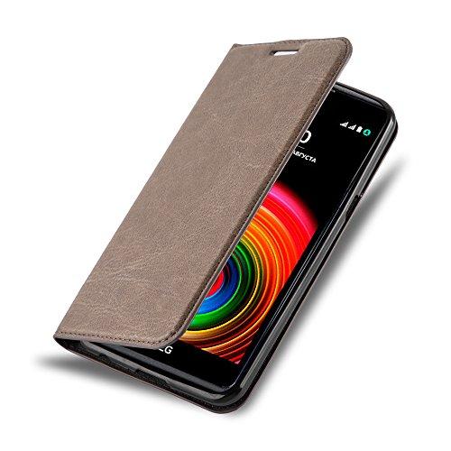Cadorabo Hülle für LG X Power - Hülle in Kaffee BRAUN – Handyhülle mit Magnetverschluss, Standfunktion und Kartenfach - Case Cover Schutzhülle Etui Tasche Book Klapp Style