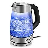 BESTEK Wasserkocher Glas Teekocher Edelstahl 1,7L mit blaue LED Innenbeleuchtung, BPA Frei, Kalkfilter, automatische Abschaltung, Kabellos, 2200 Watt