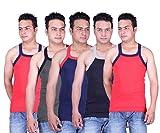 Zimfit Solid Gym Vests - Pack of 5 (RED_...