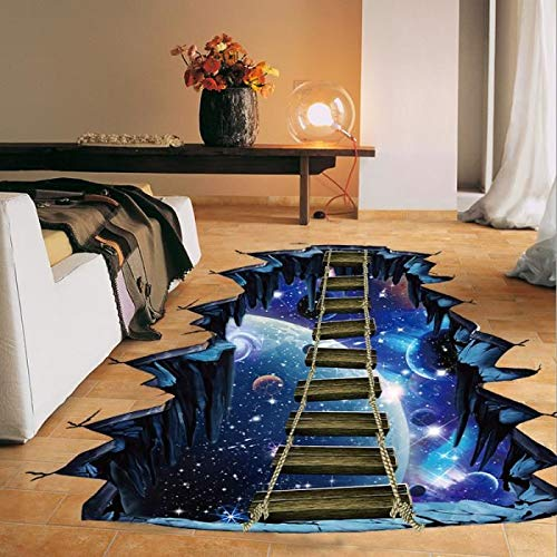 Zuhause muss Versorgt Werden 3D Wandaufkleber kreative Universum Planeten Hängebrücke PVC abnehmbare Aufkleber