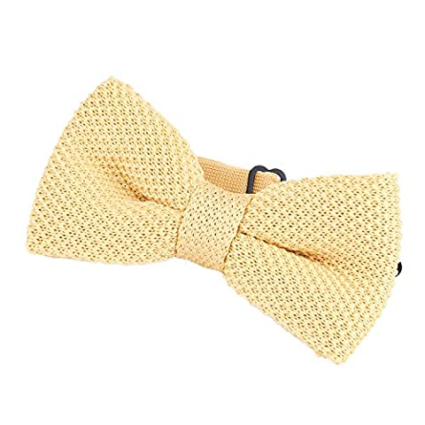 DonDon Men Knit Knitted Bow Tie Pre Tied and Adjustable Light Gold