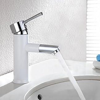 Homelody Boca 360° Giratorio Pintura Blanca Grifo de Lavabo Grifo Baño Monomando de Lavabo Monomando Fregadero Grifo de Cuenca  Griferia Baño Griferia Lavabo