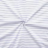 Baumwoll Stretch Jersey Stoff Ringel Meterware Weiss