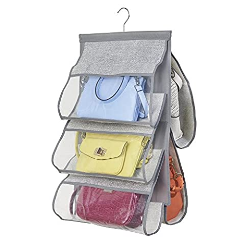 InterDesign Aldo Fabric Hanging Closet Storage Organizer for Purses, Handbags, Clutches - 5 Pockets, Gray
