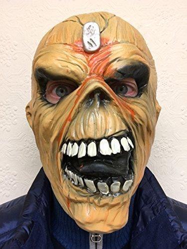 ERWACHSENE EDDIE METALL KOPF MIT KAPUZE LATEX HALLOWEEN KOSTÜM MASKE IRON MAIDEN (Iron Mask Kostüm)