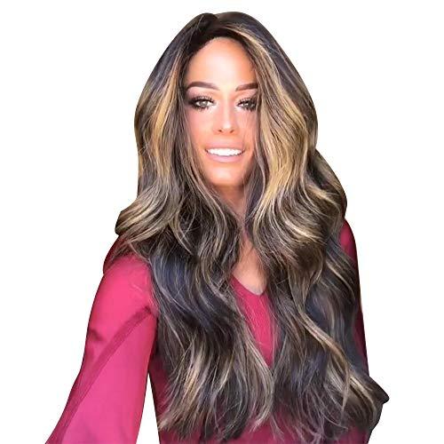 Perruque Femme naturelle, feiXIANG femmes haute qualité dégradé Perruque Cheveux ondulés Extensions de cheveux Long Complète bouclé ondulé Chaleur resistant Synthetique (B)