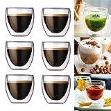 6 x 80ml IHRKleid doppelwandige Gläser, Espressogläser, Thermogläser - Set mit Schwebe-Effekt, auch für türkischen Tee geeignet