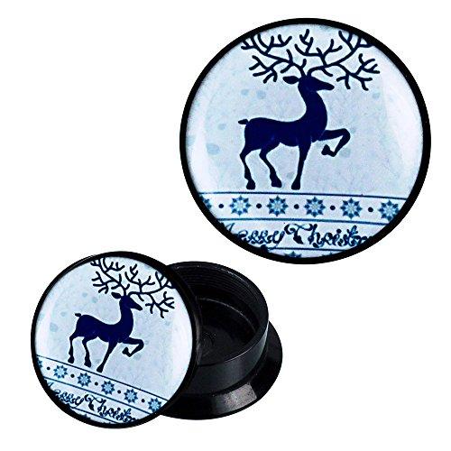 Schraub Plug Acryl Rentier Weihnachten blau weiß Schneeflocken Ohrschmuck Flesh Tunnel merry christmas unisex Damen Herren Expander Dehner Lobe Piercing Ohrring Ohrstecker ribbed Plugs
