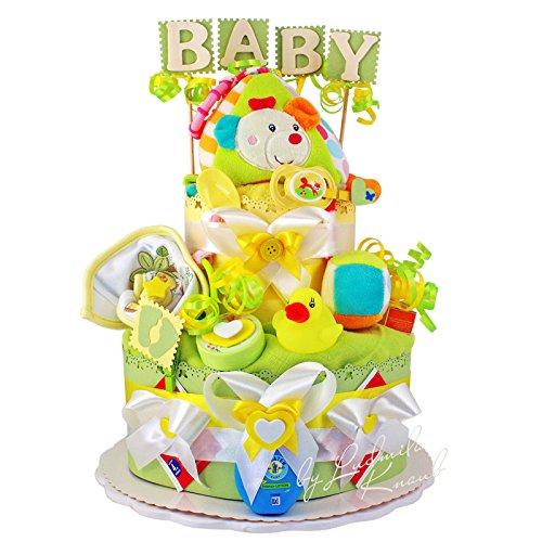 Windeltorte / Pamperstorte > Babygeschenk für Mädchen und Jungen in schönem Grün-Gelbton // Geschenk zur Geburt, Taufe, Babyparty // originelles und praktisches Geschenk für Babys (Socke Stripe Bar)