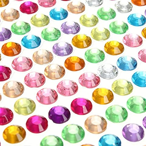 PARTH Impex 1699Teile 3mm 4mm 5mm 6mm Bling Multicolor Selbstklebende Strass Tabelle Acryl mit Juwel Gem Aufkleber für Laptop Scrapbooking Verzierungen DIY Arts Crafts Body Face Nägel