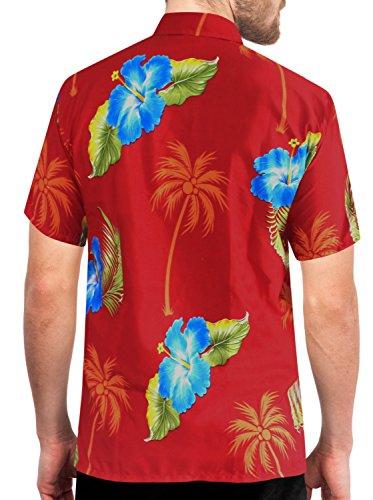 LA LEELA Strand Hawaiihemd Herren XS - 5XL Kurzarm Front-Tasche Hawaii-Print Casual Button Down Hemd Red Rot