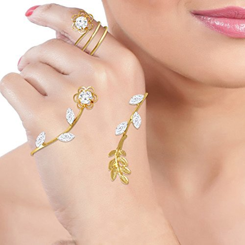 Spargz Flower Leaf Circle Party Wear Gold Plated AD Stone Hand Palm Ring Cuff Rings For Women Jewelry AIHPR 001