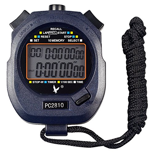Calesi Digital Professional Handheld LCD Sports Chronomètre Two-row 10 souvenirs genoux