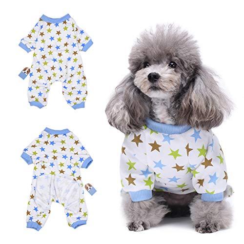 Amakunft Hundekleidung für Hunde und Katzen, Einteiler, weicher Schlafanzug aus Baumwolle, für kleine Hunde und ()