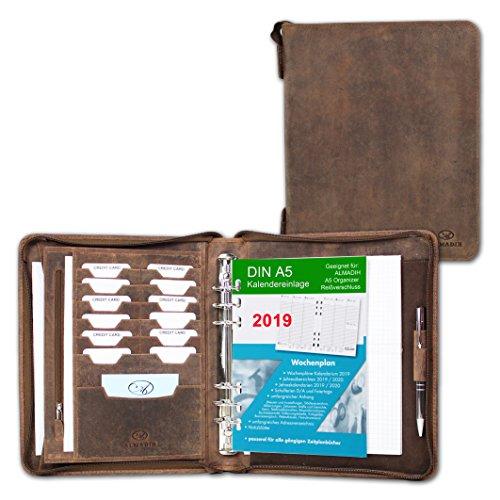 minadesign cuir organiseur A5 avec anneaux, fermeture éclair + Calendrier 2019 en cuir Premium cuir de vachette marron vintage – Conférencier Système Agenda Agenda Agenda (A5 Organiseur 2019)