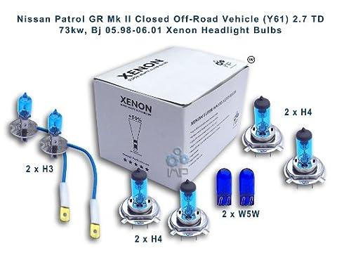 Nissan Patrol GR Mk II Closed Off-Road Vehicle (Y61) 2.7 TD 73kw, Bj 05.98-06.01 Xenon Headlight Bulbs H3, H4, H4, W5W
