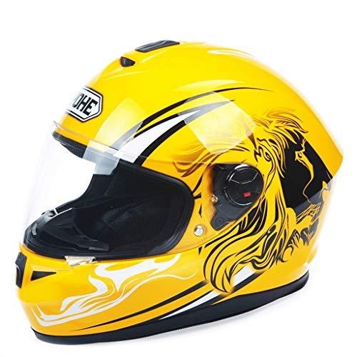 Preisvergleich Produktbild JiaoLiao Doppelte Linse,  die Motorrad-Helm-Männer und Frauen Anti-Fog-ganzer Gesichts-Helm-Lokomotive-Kobra-Sicherheits-Schutz aufdeckt (Farbe : Yellow Lion 2,  größe : XXL)