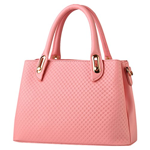 MissFox Borsa A Spalla Donna Borse A Mano Borsa Messenger Donna Vintage Cerniera Design Tote Pink