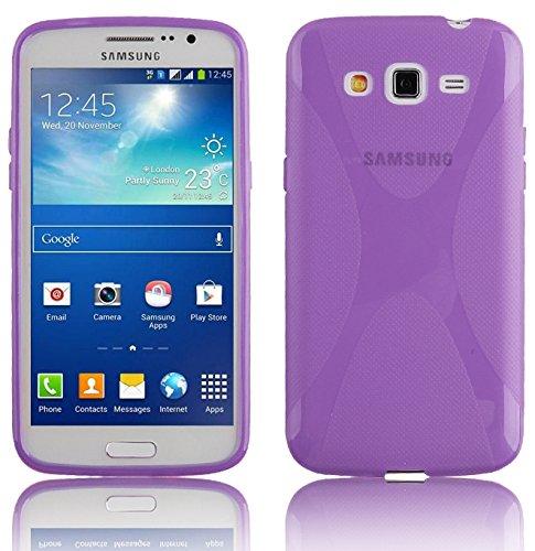 Preisvergleich Produktbild Cadorabo Hülle kompatibel mit Samsung Galaxy Grand 2 Hülle in Flieder VIOLETT Handyhülle aus flexiblem TPU Silikon im X-Line Silikon Schutzhülle